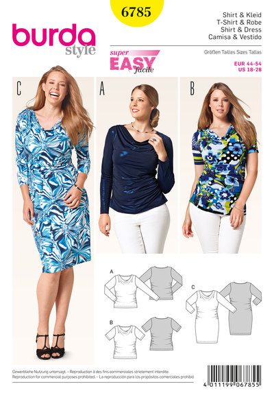 Bluse/skjorte, kjole, samlede sider
