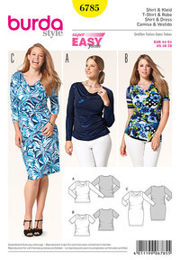 Bluse/skjorte, kjole, samlede sider. Burda 6785.