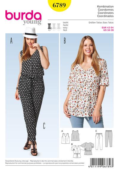 Bluse med v-halsudskæring, pyjamasagtige bukser