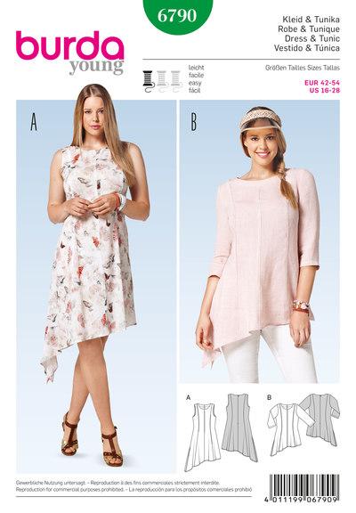 Kjole, tunika med skråsøm