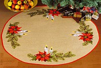 Juletræstæppe med lysdekoration. Permin 45-2209.