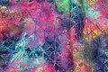 Batik-bomuld i pink, turkis m.m..