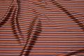 Blød, rustfarvet viscose satin med smalle striber på langs i marine og hvid.