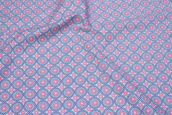 Bomuld med retromønster i lyseblå og rosa