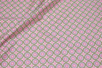 Bomuld med retromønster i rosa og grøn