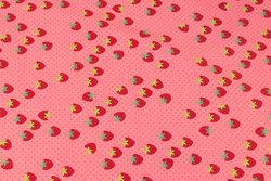 Coralfarvet bomuldsjersey med små jordbær og miniprikker