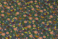 Dueblå bomuldsjersey med blomster og fugle