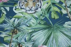Dueblå bomuldsjersey med tigre og blomster