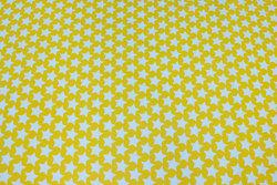 Fast bomuld i mørk gul med 2 cm mint stjerner