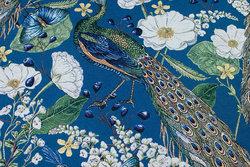Flot gobelin i petrolblå med påfugle og blomster