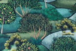 Flot mellemsvær, blød bomuld med træer i grønne nuancer i digitaltryk