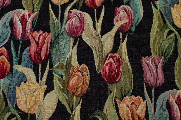 Flot sort gobelin med farvede tulipaner