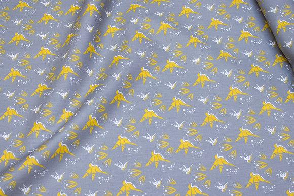 Grå bomuld med ca. 25 mm gule fugle
