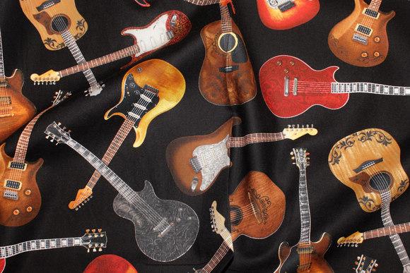 Guitarer på patchworkbomuld