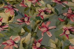 Helt let stretch-polyester i mint med pink orkideer