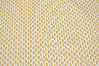 Hvid bomuld med 2 cm mørk gult fjermønster