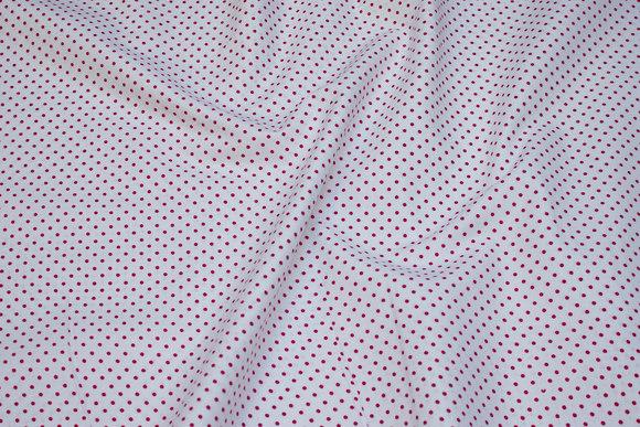Hvid bomuld med små 2 mm røde prikker