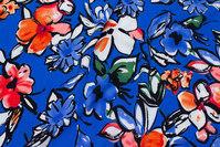 Let, blå micropolyester med store blomster i blå og coral