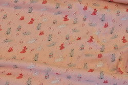 Let, lyserød hul-strik med små kaniner til babytøj