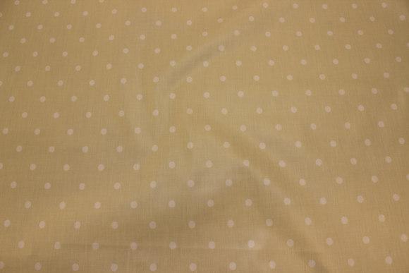 Lys sandfarvet textildug med 8 mm hvid prik