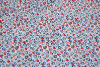 Lyseblå bukse-bomuldsstretch med lille mønster i coral og grå