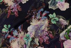 Marine bomuldsjersey med store lyslilla blomster