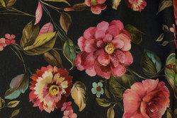 Mellemsvær bomuld i støvet marine med pink blomster