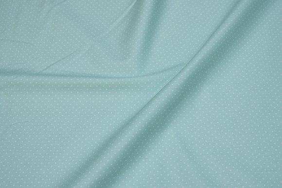 Mintfarvet bomuld med små 1 mm hvide prikker