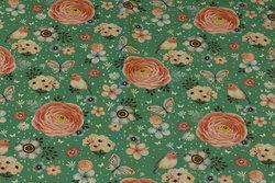 Mintgrøn bomuldsjersey med blomster, fugle og sommerfugle