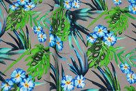 Mørk sandfarvet Bengalin med grøn-blå blade og blomster