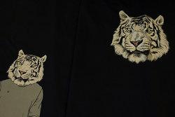 Panel i marine bomuldsjersey med grå tiger til trøjer