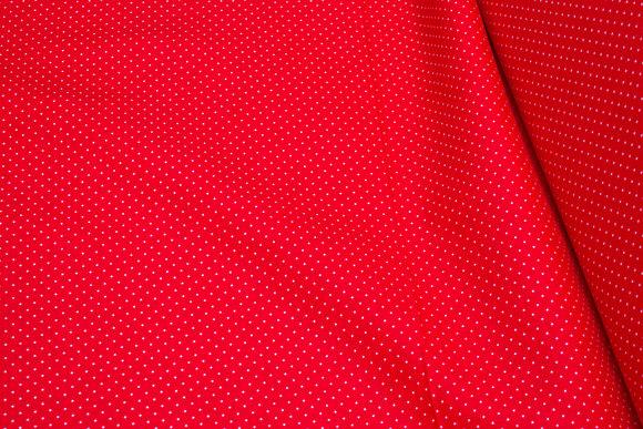 Rød bomuld med hvide miniprikker