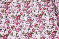 Sart rosa bomuld med bordeaux roser