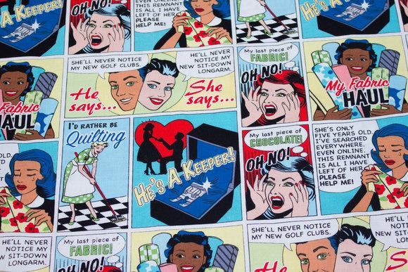 Sjov patchwork-bomuld med tegneserie for sypiger