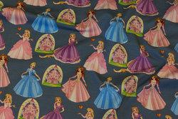 Støv gråblå bomuldsjersey med Disney-prinsesser