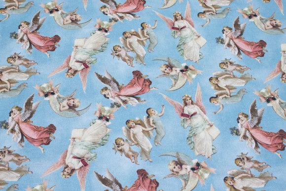 Støvblå bomuld med engle
