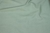 Støvgrøn bomuld med små hvide prikker