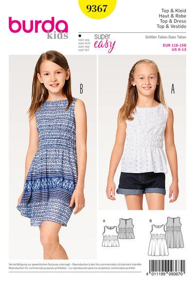 Top, kjole, elastisktalje til børn