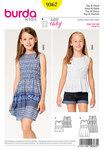 Burda 9367. Top, kjole, elastisktalje til børn.