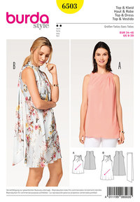 Top, kjole, vinklet plissering, tørklæde. Burda 6503.