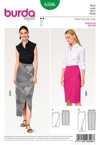 Smal nederdel, slå-om udseende, formet taljebånd. Burda 6506.