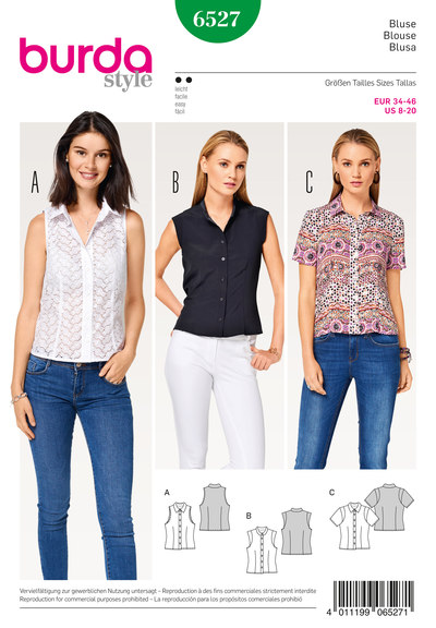Bluse-skjorte krave, standkrave, ærmekanter