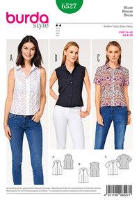 Bluse-skjorte krave, standkrave, ærmekanter. Burda 6527.