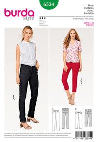 Bukser, jeans, trekvart-bukser. Burda 6534.