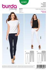 Skinny bukser, jeans. Burda 6543.