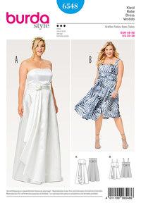 Stropkjole, bryllupskjole, nederdel, slå-om udseende. Burda 6548.