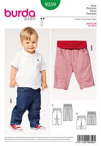 Bukser og bukser med bærestykke, har lommer, elastisk talje. Burda 9359.
