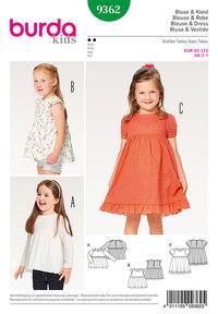 Bluse, kjole, pinafore, samlet nederdel, sømpynt. Burda 9362.