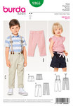 Burda 9365. Plisserede bukser med elastisk talje, seler, shorts.