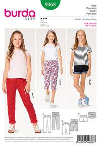 Bukser, jeans, shorts, trekvart-bukser til børn. Burda 9368.